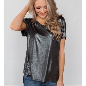 French Connection shimmer short sleeve top size L